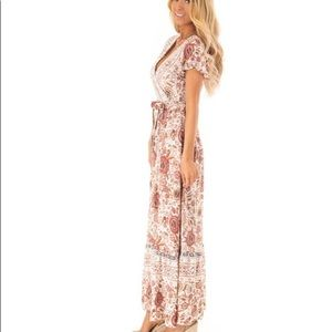 Aly Daly Dresses - Aly Daly Floral V Neck Maxi Wrap Dress With Tie/ M